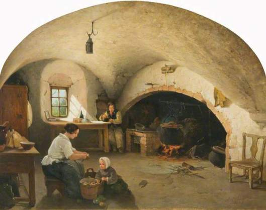 Barra castle, Aberdeenshire, kitchen, James Cassie 1854