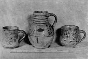 sgraffito-ware jug and cups, Jamestown Ntl Hist site